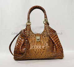 NWT Brahmin Elisa Satchel/Shoulder Bag Toasted Almond Melbourne Embossed Leather - $339.00