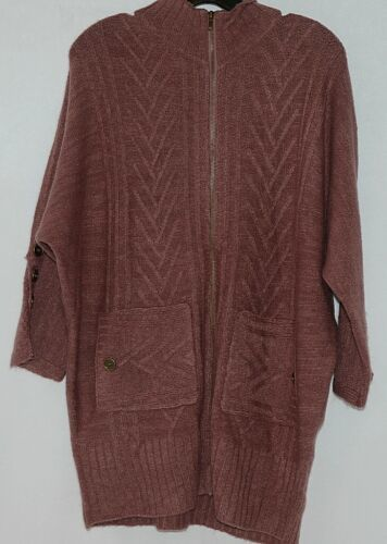 Simply Noelle Brand JCKT222SM Knitted Mauve Women's Zipper Jacket Size Small