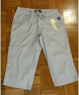 NEW D JEANS TAN DRAWSTRING CROPPED CARGO LIGHTWEIGHT PANTS CAPRI 14 L 36... - $9.99