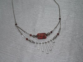 Estate Southwest Magnetic Silver Smooth Barrel with Faux Red Stone & Cle... - $10.39