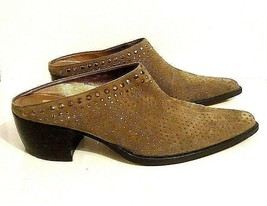 Western Style Pointy Toe Van Eli Brown Studded Mules Shoe Size 9M - $29.69