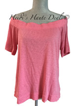NWT $78 SPLENDID Pink Off Shoulder Half Sleeve Slub Jersey Tee Shirt Top... - $24.89