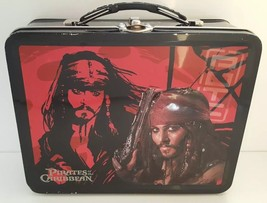 Pirates of the Caribbean Metal Tin Lunch Box Disney Pirate Captain Jack ... - $24.71