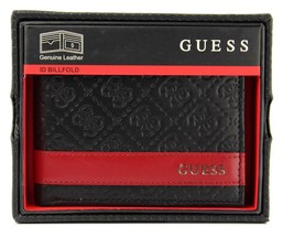 New Guess Men's Leather Credit Card ID Wallet Passcase Billfold Black 31GU13X008