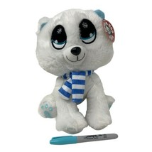 Peek-A-Boo Toys Plush White Arctic Fox Sewn Eyes Blue Scarf Soft Stuffed... - $12.99