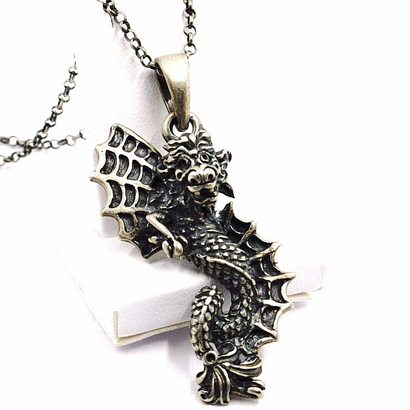 Necklace and Pendant, Silver 925, Burnished Satin, Dragon, Chain Rolo '