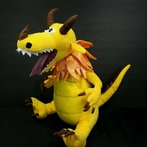 "Dragon Plush Yellow Stuffed Animal Snap Dragons Shiny Orange 15"" No Soun... - $21.77"