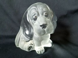 Viking Glass Basset Hound Cute Puppy Dog Frosted Paperweight Bookend Figurine - $26.55