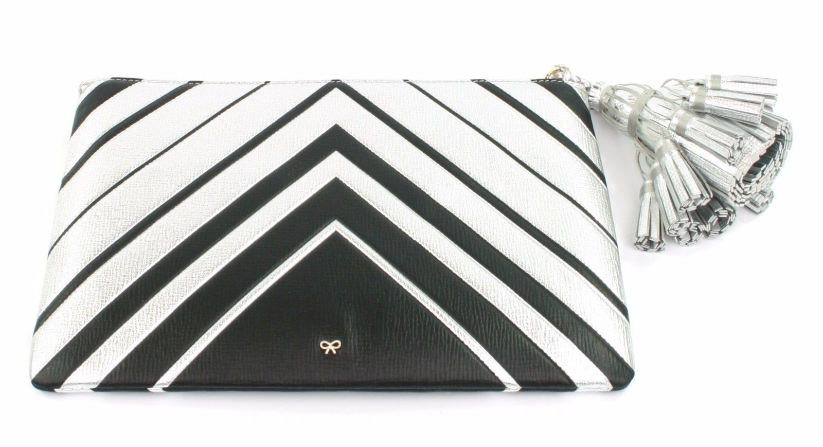 Anya Hindmarch Georgiana Metallic Clutch Bag Silver Chevron Large Tassel RRP£695