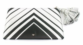 Anya Hindmarch Georgiana Metallic Clutch Bag Silver Chevron Large Tassel... - €488,65 EUR