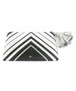 Anya Hindmarch Georgiana Metallic Clutch Bag Silver Chevron Large Tassel... - $563.62
