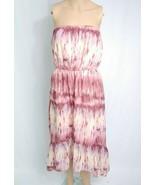 Macys Bar III Tie Dye High Low Sundress M Pink Purple Beige Ruffle Beach... - $7.70