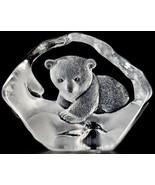 NIB MATS JONASSON ETCHED LEAD CRYSTAL BABY POLAR BEAR SCULPTURE FIGURINE... - $140.25