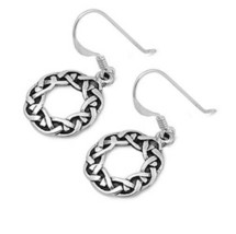 Round 925 Sterling Silver Celtic Knot Dangle Earrings - $22.76