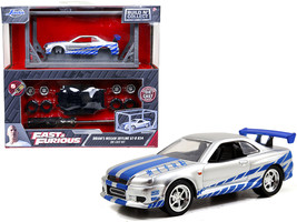 Model Kit Brian's Nissan Skyline GT-R R34 Silver and Blue Fast & Furious Movie B - $19.59