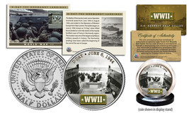 WWII * D-Day Normandy Landings *  Kennedy Half Dollar U.S. Coin w/ Fact ... - $9.85