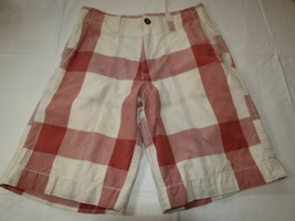 boys American Eagle Outfitters plaid off white walk shorts 26 pre-owned ... - $16.03