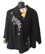 Bob Mackie Wearable Art Black Geometric Cotton Zip Up Blazer Jacket Xlar... - $99.99