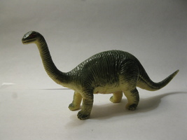 "(BX-1) Vintage 6"" long Apatosaurus Plastic Dinosaur - green w/ yellow belly - $2.00"
