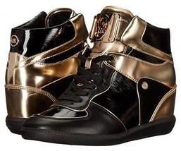 Michaels Kors Nikko Gold & Black Leather Hightop Wedge Booties Nwot Wms 8.5 Disc - $139.99