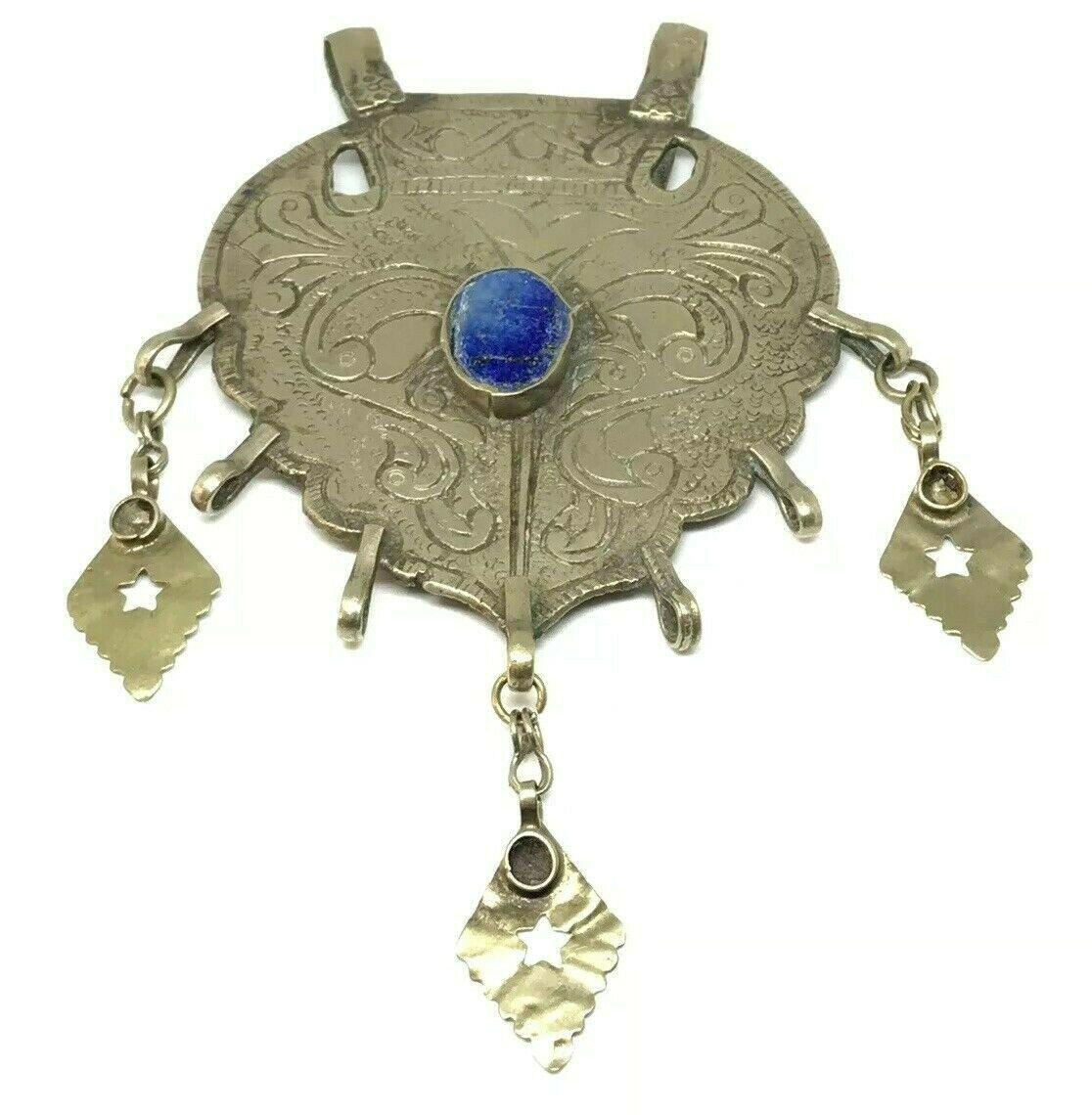 Huge Vintage Banjara Afghan Turkmen Tribal Lapis Lazuli Kuchi Pendant Gold Tone - $98.99
