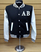 Your Initials On Letterman Varsity Collage Baseball BLACK/WHITE Fleece Jacket - $36.99