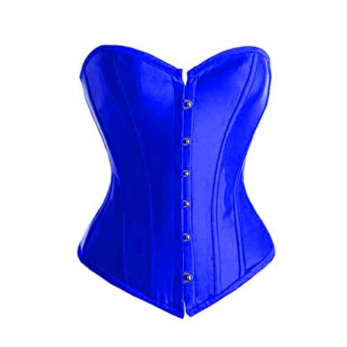 Primary image for Blue Satin Gothic Burlesque Costume Waist Training Bustier Overbust Corset Top