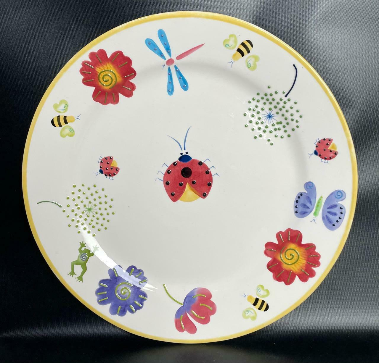"Primary image for BICO China Ladybug Dragonfly Floral Butterfly Platter Hand Painted 14.5"" Ceramic"