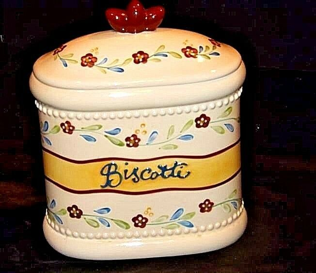 Biscotti Cookie Jar with Lid AA18-1256  Hand Made for Nonni's Vintage