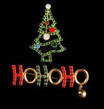Vintage Christmas Tree brooch / ho ho ho bell brooch / Christmas gift for her /  - $85.00