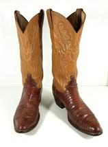 Justin Cowboy Western Boots Snake Lizard Print Women's Size 6.5B Two Ton... - £29.38 GBP