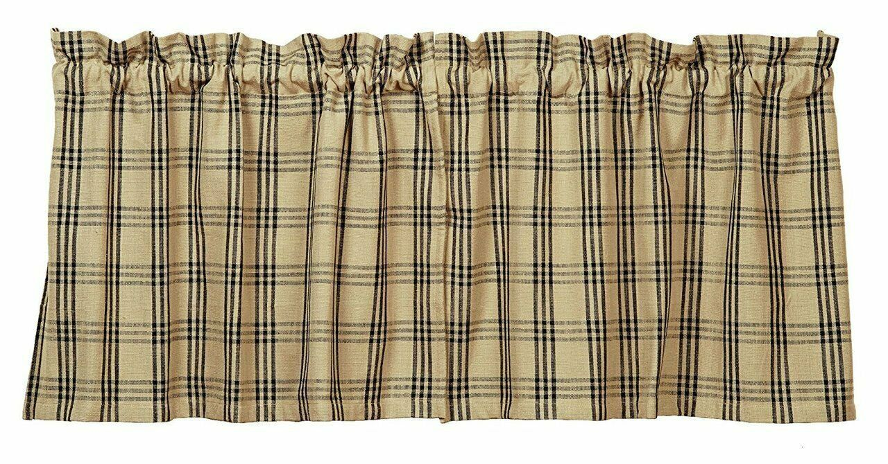 Primary image for country primitive cabin farmhouse Cottonwood Black & tan plaid TIERS curtains