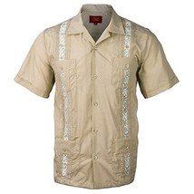 Guayabera Men's Cuban Beach Wedding Short Sleeve Button-Up Casual Dress Shirt (5