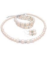 Pearls Wedding Jewelry Ivory Pearls Bridal Jewelry 3 Stranded Bracelet  - $48.00
