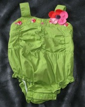 Gymboree Baby Newborn Romper Ruched Tropical Petals Green Bubble Reborn Doll - $12.86