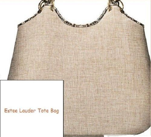 Primary image for Estee Lauder Tan Fabric Bucket Shopper Snake pattern trim Tote Bag