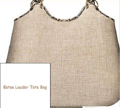 Estee Lauder Tan Fabric Bucket Shopper Snake pattern trim Tote Bag - $15.83