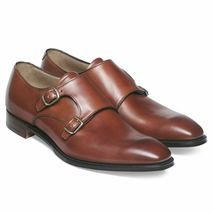 Handmade Men's Brown Leather Double Monk Strap Dress/Formal Leather Shoes image 3