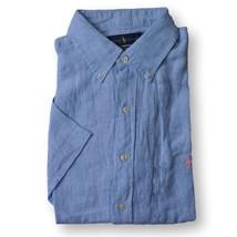 New Polo Ralph Lauren Men's Short Sleeve Linen Button Down Shirt Blue M L XL XXL - $74.99