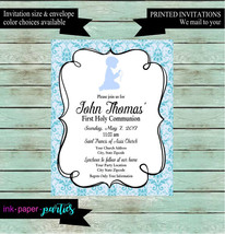 First Holy Communion Blue Damask Shadow Boy Party Invitations Invites Pe... - $1.10
