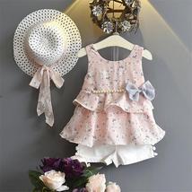 summer kid girls sleeveless dress + shorts + hats - $17.38+