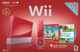 Red Wii Console with Wii Sports and Super Mario Bros [video game] - $185.11