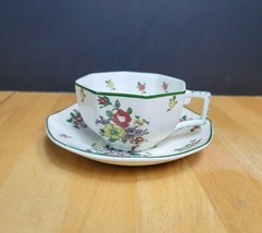Royal Doulton Old Leeds Sprays Flat Cup & Saucer Set Multisided Multiflo... - $12.82
