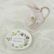 "Miniature Plate and Pitcher Pink White ""I Love You Grandma"" Floral Accents - $13.85"