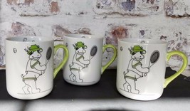 Vtg Zoophisticates by Gant Gaither 3 coffee mugs Cows playing tennis Cup... - $39.08