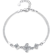 Sterling Silver Charm Bracelet,Four Leaf Clover with Presentski Diamond ... - $69.44