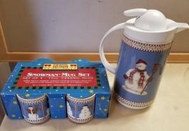 4 Sakura Oneida Debbie Mumm Snowman Christmas Cups and Thermal Coffee Ca... - $401,06 MXN