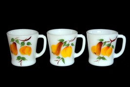 3 VTG Anchor Hocking Fire King Pear Peach White Milk Glass Mugs Appear Unused - $29.99