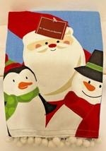 Christmas Hand Towel Santa Penguin Snowman Holiday Decor Tassels Kitchen... - $9.89