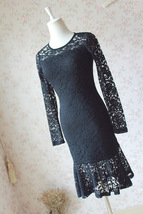Women's Retro Floral Lace Long Sleeve Fitted Midi Cocktail Party Dress NWT image 3
